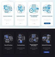 padrões de comportamento do comprador integrando a tela da página do aplicativo móvel com conceitos vetor