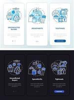 tipos de consumidor na tela da página do aplicativo móvel com conceitos vetor