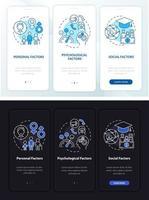 tela de página de aplicativo móvel de integração de decisão de compra com conceitos vetor