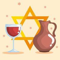 feliz hanukkah e desenho vetorial de jarro de óleo vetor