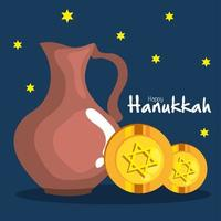 jarro de óleo hanukkah feliz e design de vetor gelt