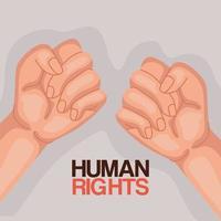 direitos humanos com os punhos para cima desenho vetorial vetor
