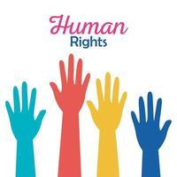direitos humanos com mãos coloridas para cima desenho vetorial vetor