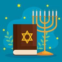 feliz hanukkah menorá e desenho vetorial de torá vetor