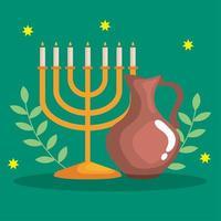 feliz hanukkah menorá e desenho vetorial de jarro de óleo vetor