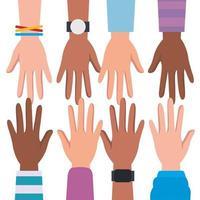 direitos humanos com diversidade mãos vetor design