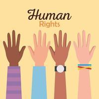 direitos humanos com mãos ao alto design de vetor