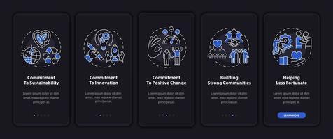 ética da empresa na tela da página do aplicativo móvel com conceitos vetor