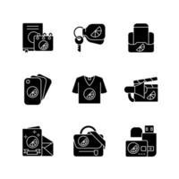 materiais de marca da empresa ícones de glifo preto definidos no espaço em branco vetor