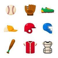 ícone de engrenagens de equipamentos esportivos de softbol vetor