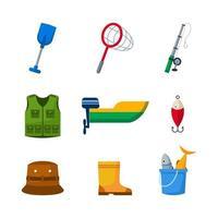 ícone de equipamento de pesca ao ar livre vetor