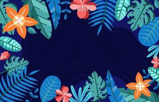 flor tropical floral azul verde folha vetor