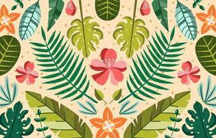 tropical floral verão verde areia flor folha vetor
