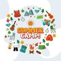 fundo de acampamento de verão com elementos ao redor das palavras vetor