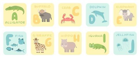 Cartões de alfabeto aj fofos com desenhos animados de animais africanos da selva da floresta tropical com ilustrações de zoológico vetor