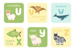 Cartões bonitos do alfabeto uz com desenhos animados floresta tropical mar oceano animais africanos ilustrações vetoriais de zoológico vetor