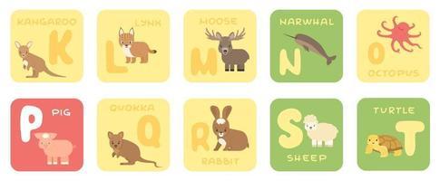vetor fofo kt zoológico alfabeto isolado cartões educacionais com animais de desenho animado canguru lince alce narval polvo porco quokka coelho ovelha tartaruga em estilo simples