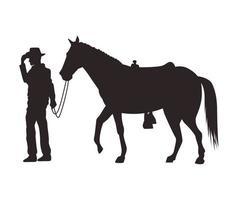 silhueta de vaqueiro com cavalo vetor