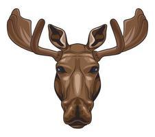 ícone de personagem colorido cabeça selvagem de alce vetor
