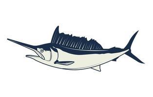 ícone de elemento vintage cinza náutico peixe-espada vetor