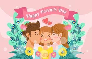 mãe e pai beijando sua linda filha vetor