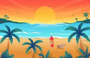 bela paisagem tropical de pôr do sol na praia vetor