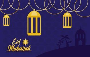 letras douradas eid mubarak vetor