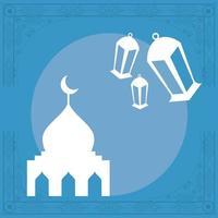 templo da mesquita e lâmpadas vetor