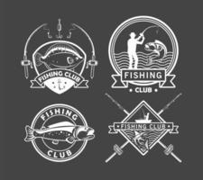 quatro emblemas de pesca vetor