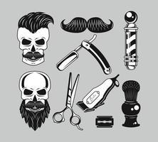nove ícones de barbearia vetor