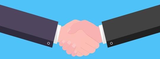 empresários apertando as mãos estilo plano projeto ilustração vetorial sucesso negócio parceria saudação acordo de aperto de mão isolado em fundo azul claro vetor