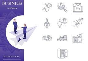 conjunto de ícones de negócios e finanças, traço e cor editáveis vetor