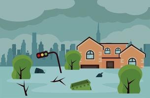 cena de inundação da vizinhança vetor