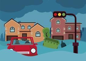 inundação cena urbana vetor