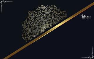 Fundo de mandala de luxo com vetor livre de arabescos dourados