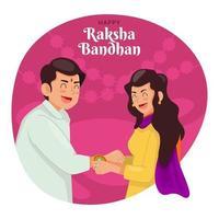 irmão e irmã pulseira de emparelhamento para celebrar raksha bandhan vetor
