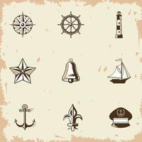 nove etiquetas náuticas vetor
