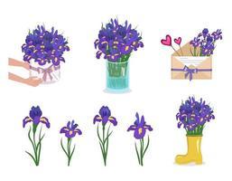 um conjunto de flores de íris em um vaso de caixa redonda e um envelope decorações de primavera e verão entrega de buquês vetor