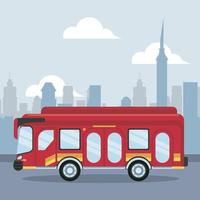 ícone de veículo de ônibus no cenário da cidade vetor