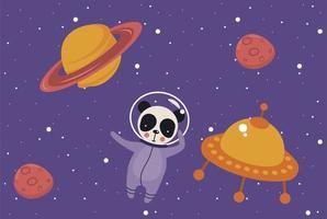 astronauta urso panda vetor