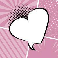 balão de fala retrô desenhado com formato de coração estilo pop art vetor