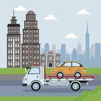 transportadora de automóveis caminhão veículo transporte táxi na cena da cidade vetor