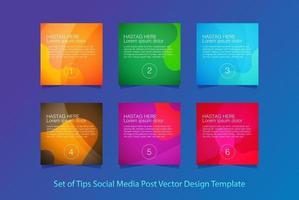 conjunto de dicas mídia social postar modelo de design de vetor