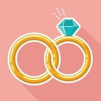 anel de casamento plano vinculado estilo design ilustração isolado desenho vetor