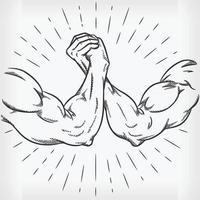 esboçar luta de braço forte lutando mão doodle desenho ilustração vetor