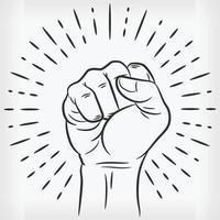esboço mão levantada punho cerrado doodle ilustração desenhada vetor