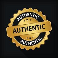 emblema de ouro autêntico rótulo de garantia logotipo isolado símbolo redondo vetor