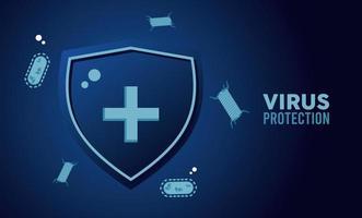 escudo de proteção contra vírus com partículas de bactérias de cor azul vetor