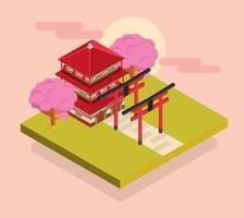 árvores de portão de pagode vetor