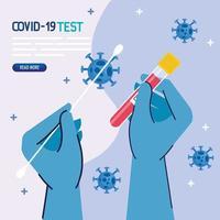 covid 19 mãos de teste de vírus com luvas segurando desenho vetorial de cotonete e tubo vetor